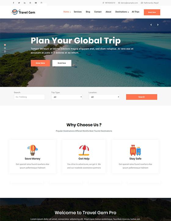 Travel Gem - travel website WordPress theme