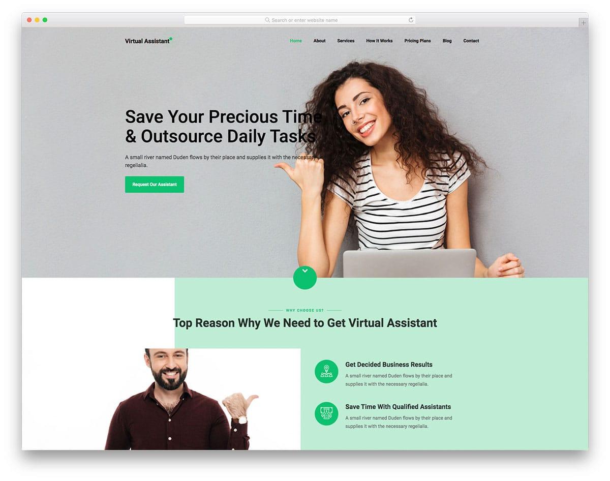 VirtualAssistant – virtual assistant website HTML template