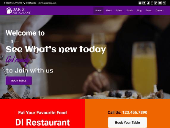 Cafe Restaurant - free WordPress theme