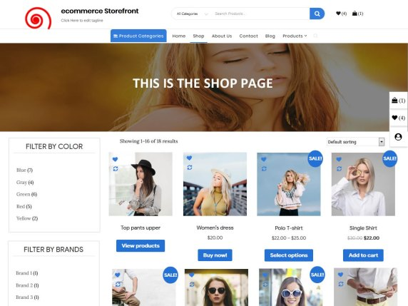 Ecommerce Storefront - responsive WordPress theme