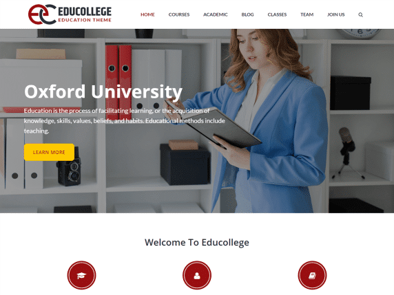 Educollege - education institution website WordPress theme