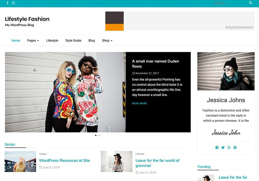 Lifestyle Fashion - stylish WordPress theme
