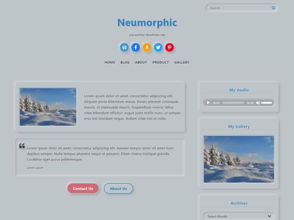 Neumorphic - WordPress theme