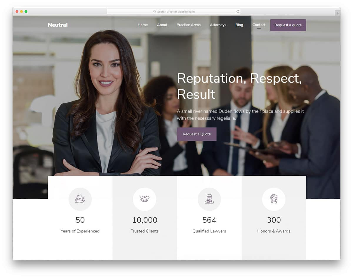 Neutral - one-page law firm website template