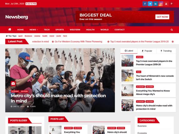 Bulletin News - news/magazines website theme
