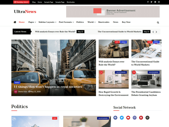 Ultra News - news/magazine/blog website theme