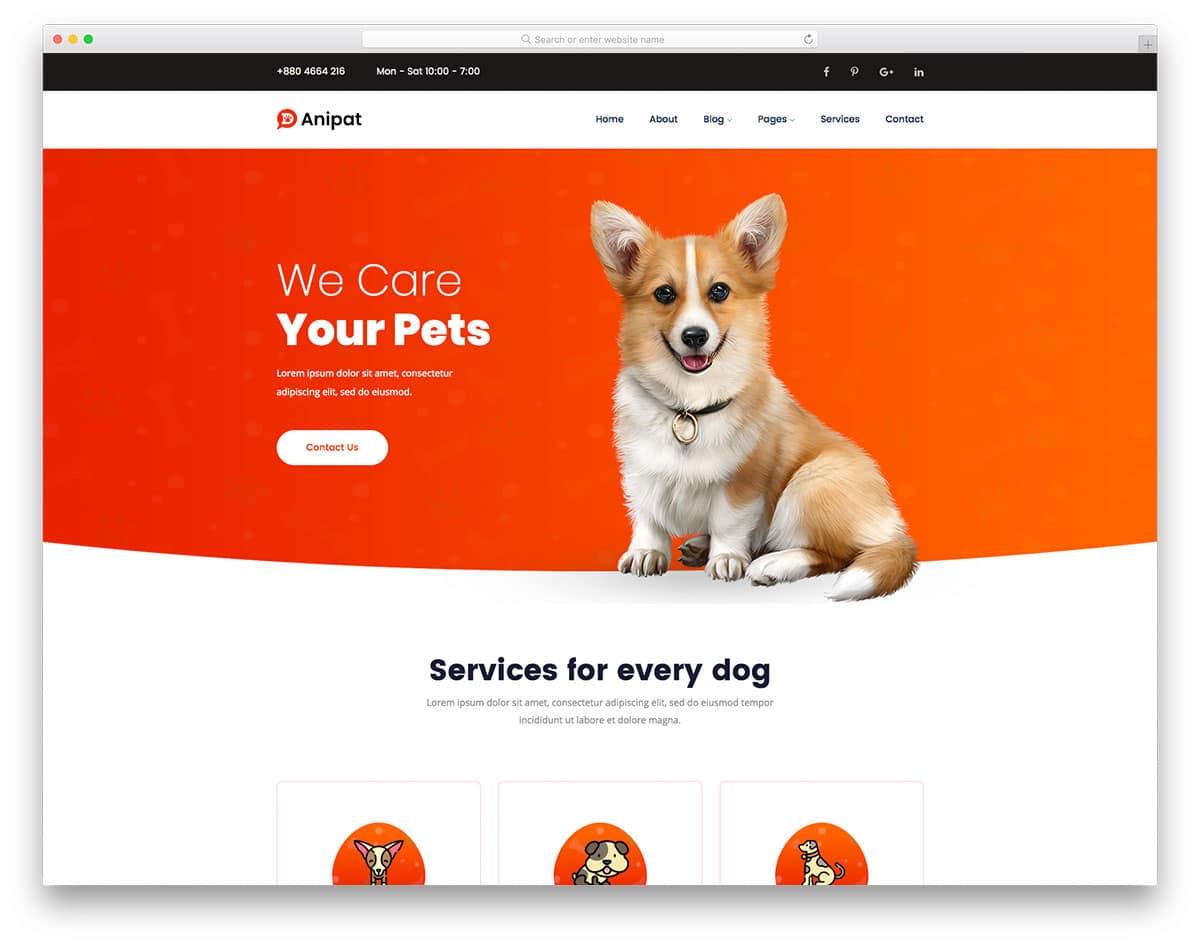 Anipat - pet care website HTML template