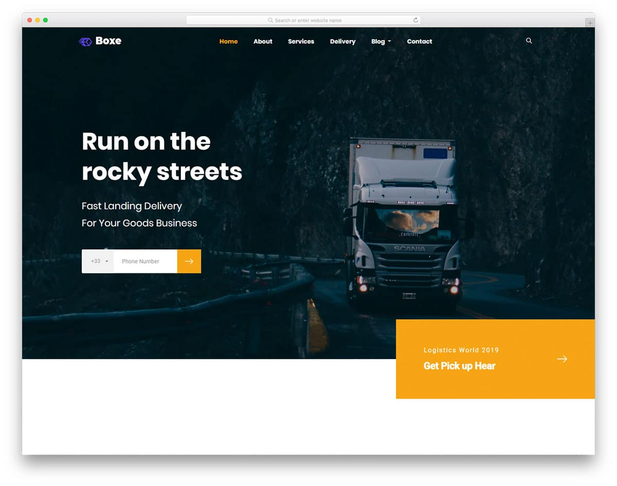 Boxe - trucking website HTML template