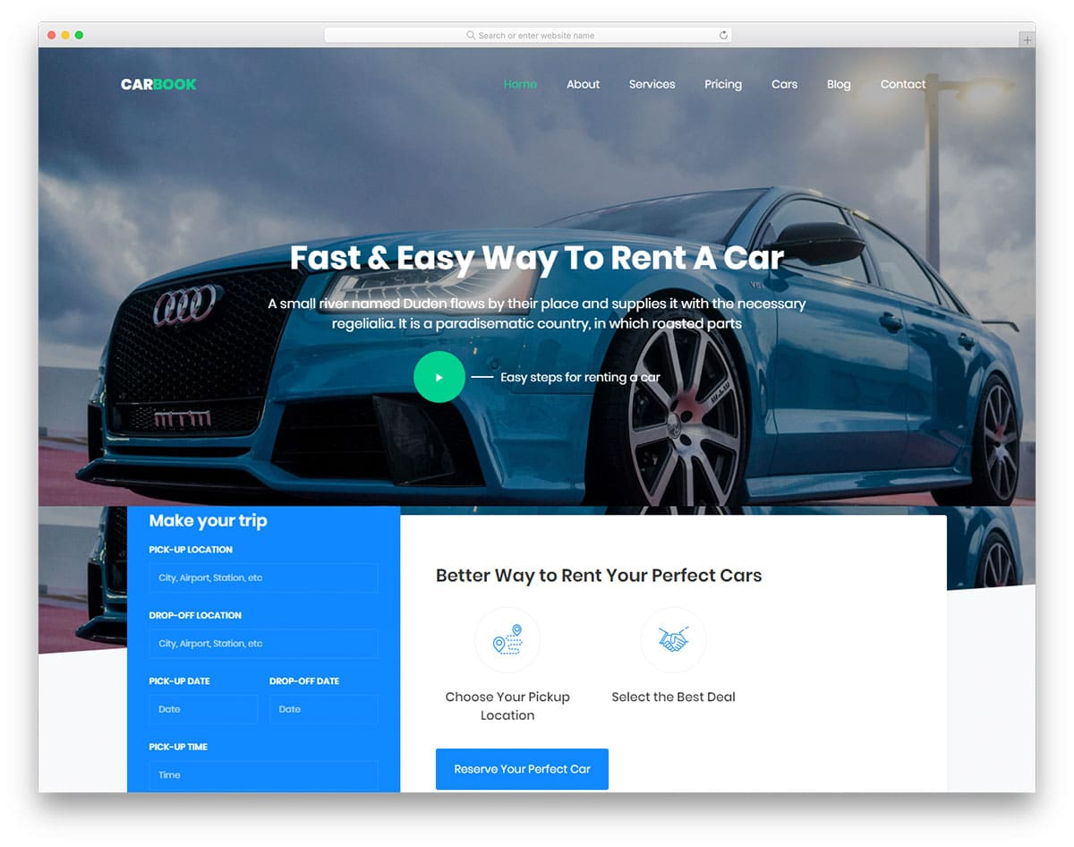 Carbook - car/taxi rental website HTML template