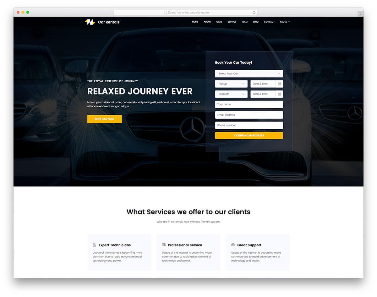 CarRentals - car/taxi rental website HTML template