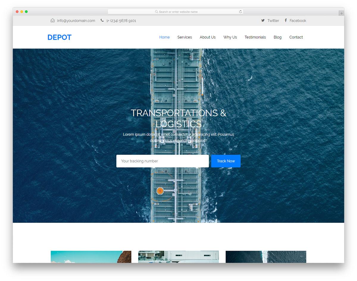 Depot - one page transportation website HTML template