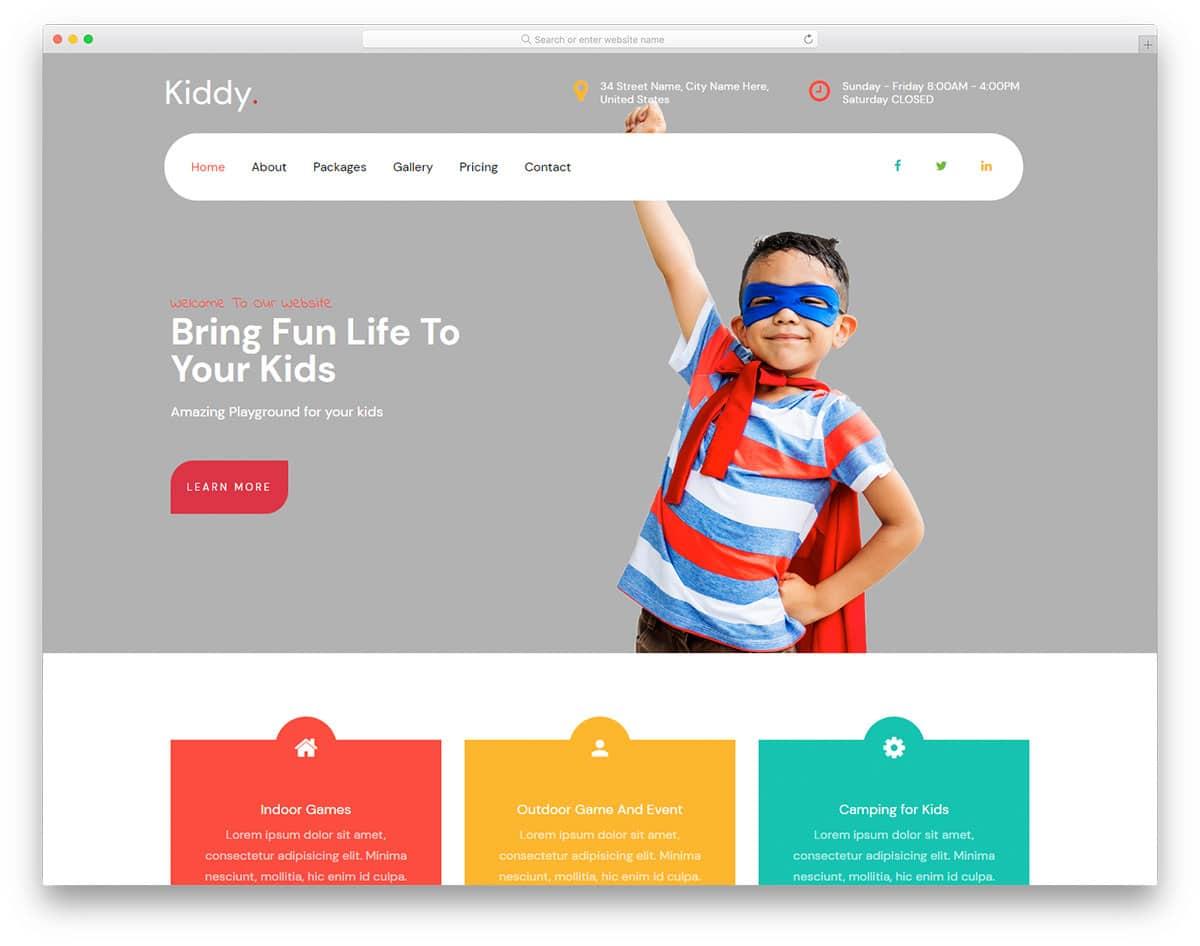 Kiddy - kids center HTML website template