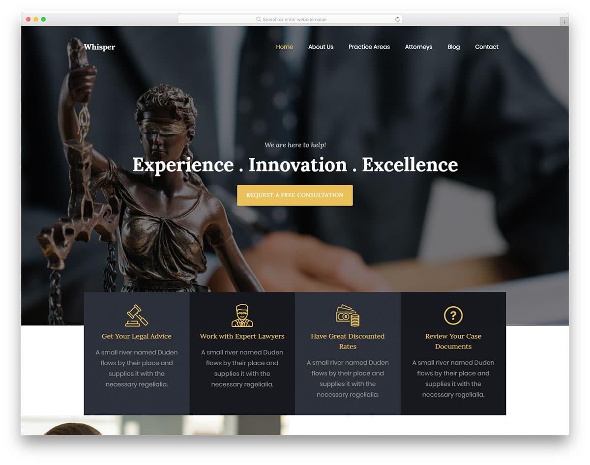 Whisper - legal website HTML template