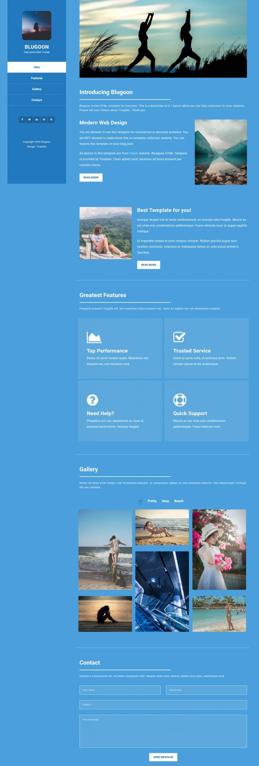 Blugoon - one-page layout HTML template