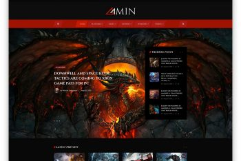 Amin – Free Gaming Magazine Website HTML Template