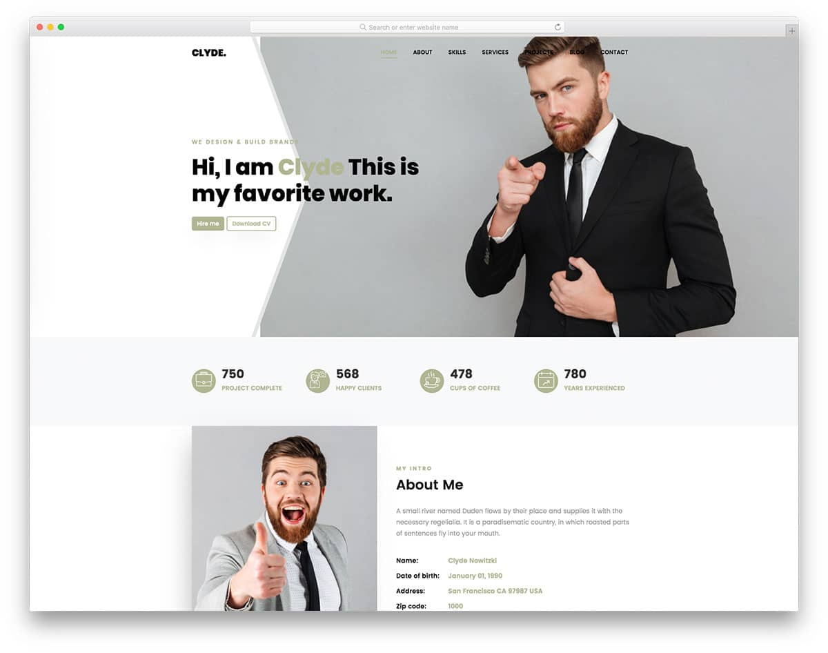 Clyde - one page portfolio website template