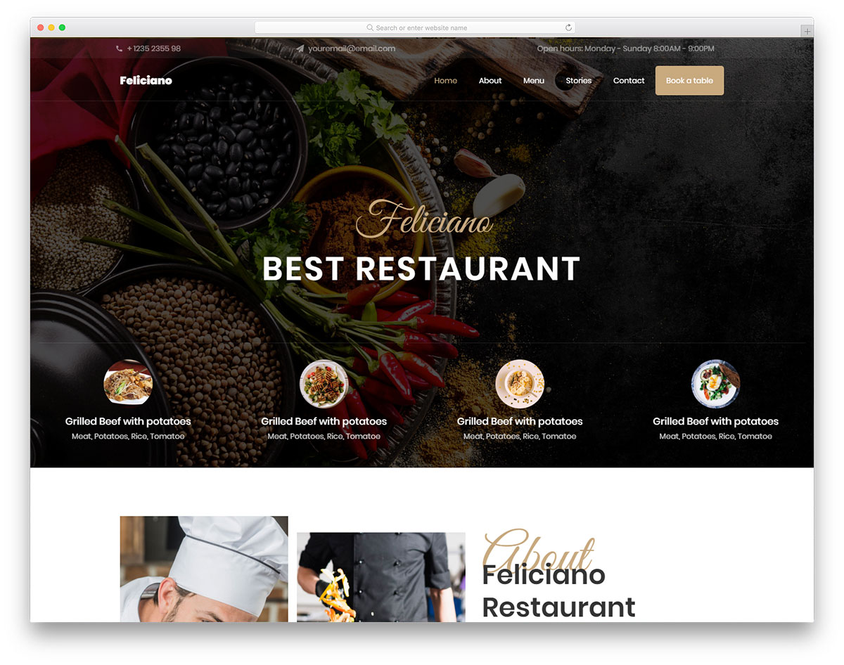 Feliciano - restaurant website HTML template