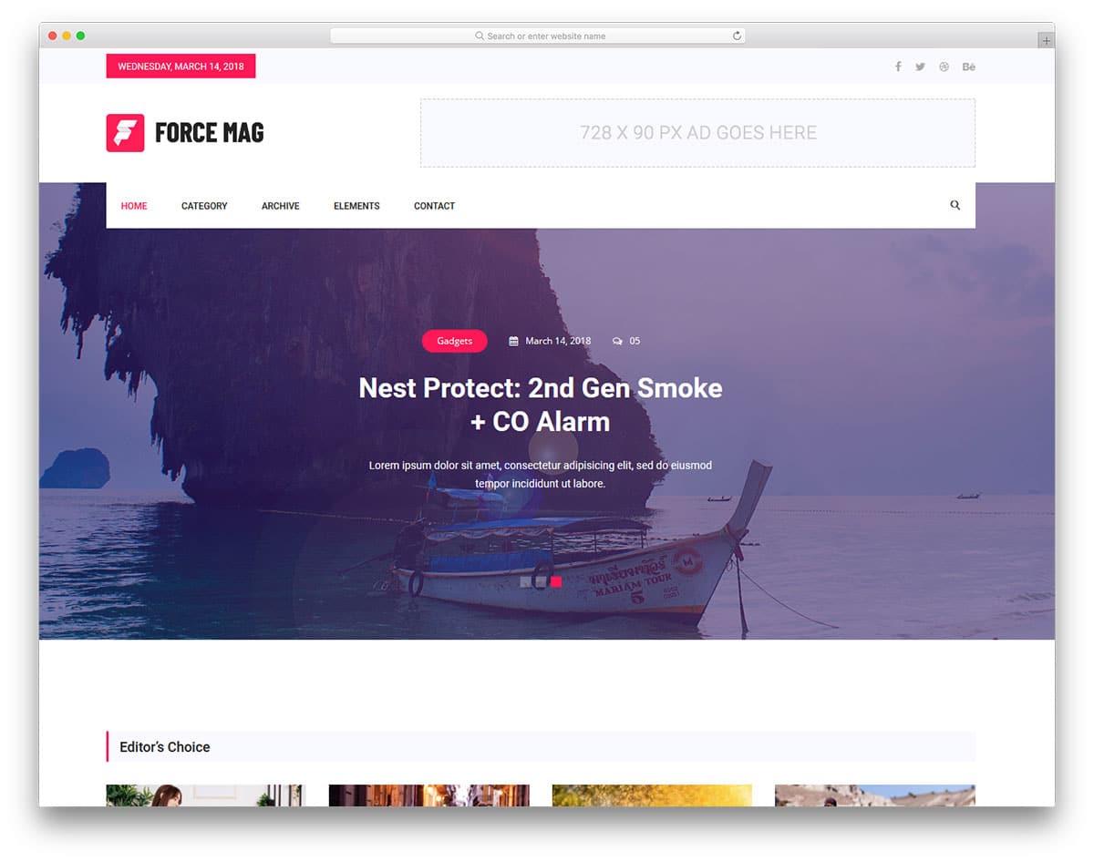 Force - news website HTML template