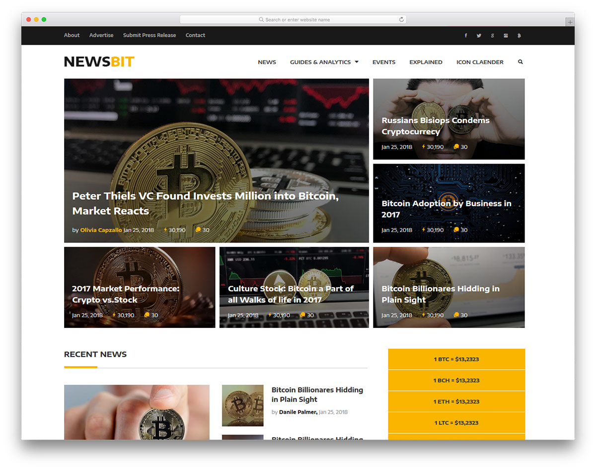 Newsbit - cryptocurrency blog website template