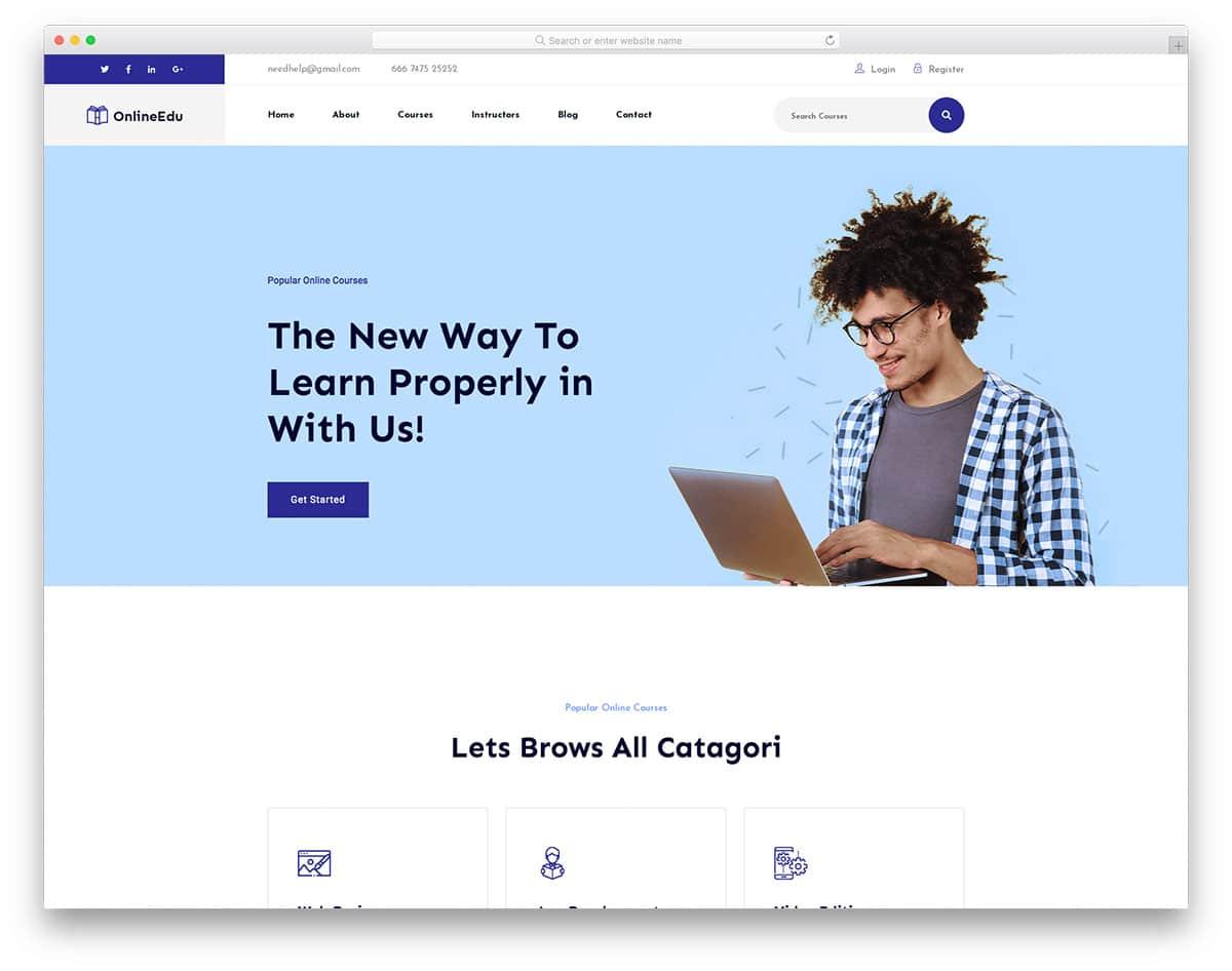 OnlineEdu - education website HTML template