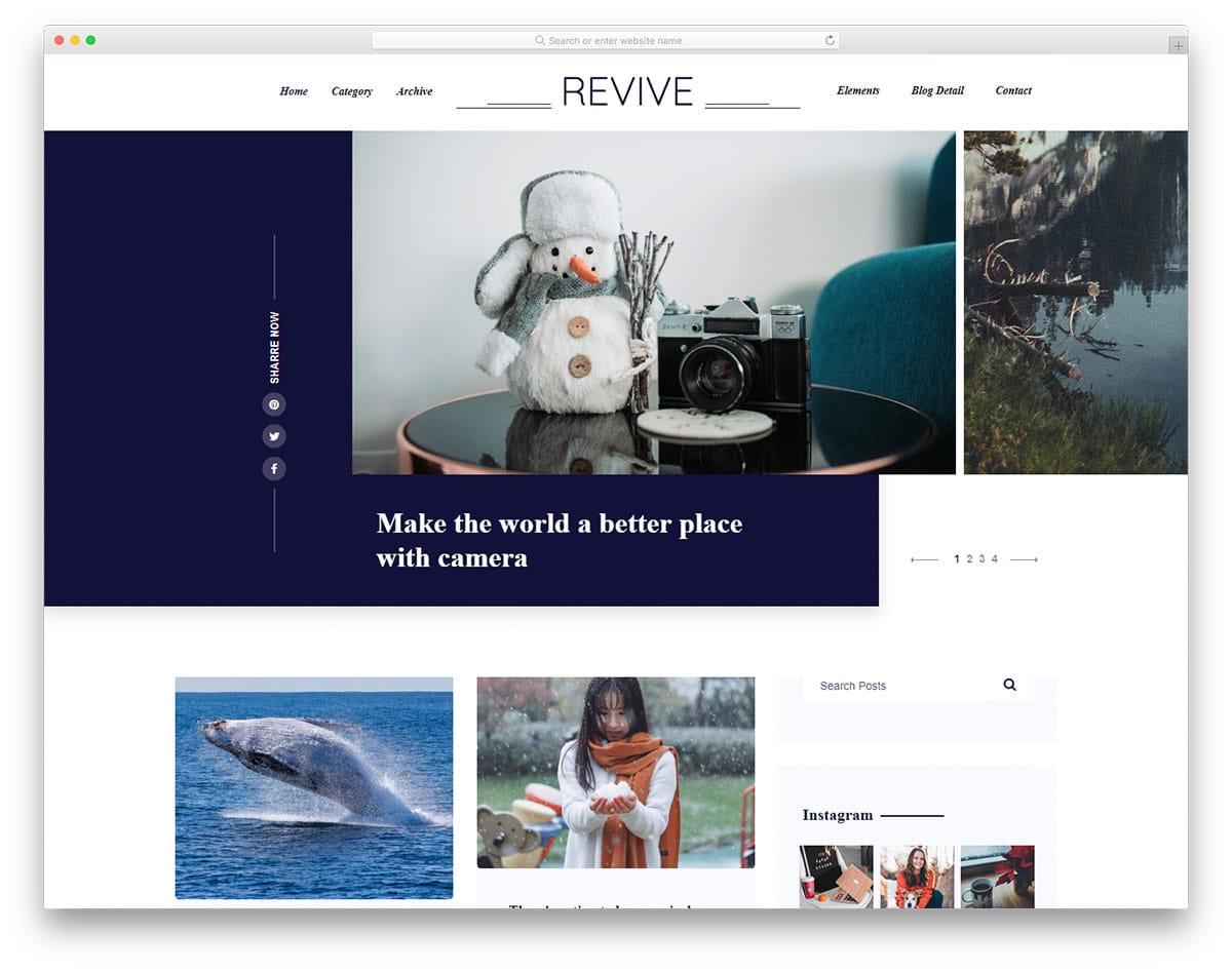 Revive - photoblog website HTML template
