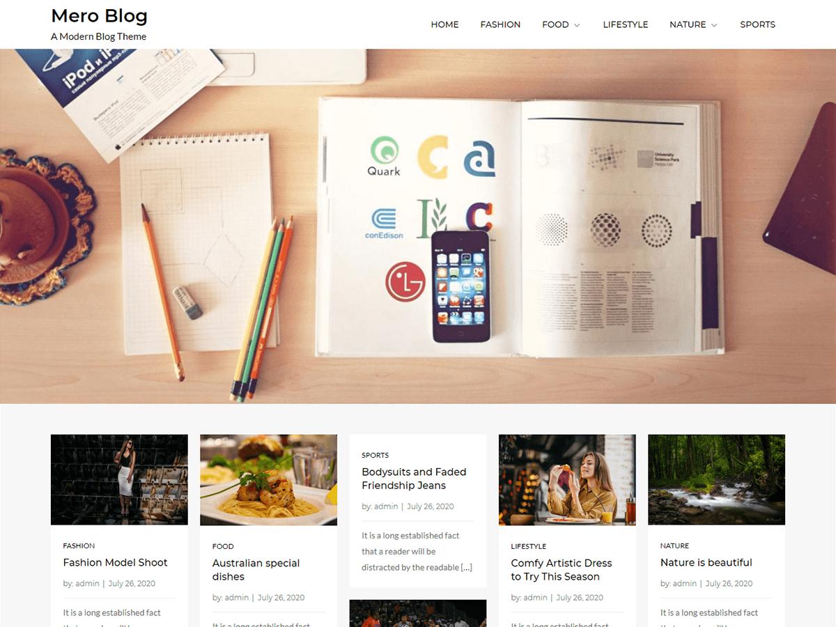 Mero Blog - modern WordPress blog theme