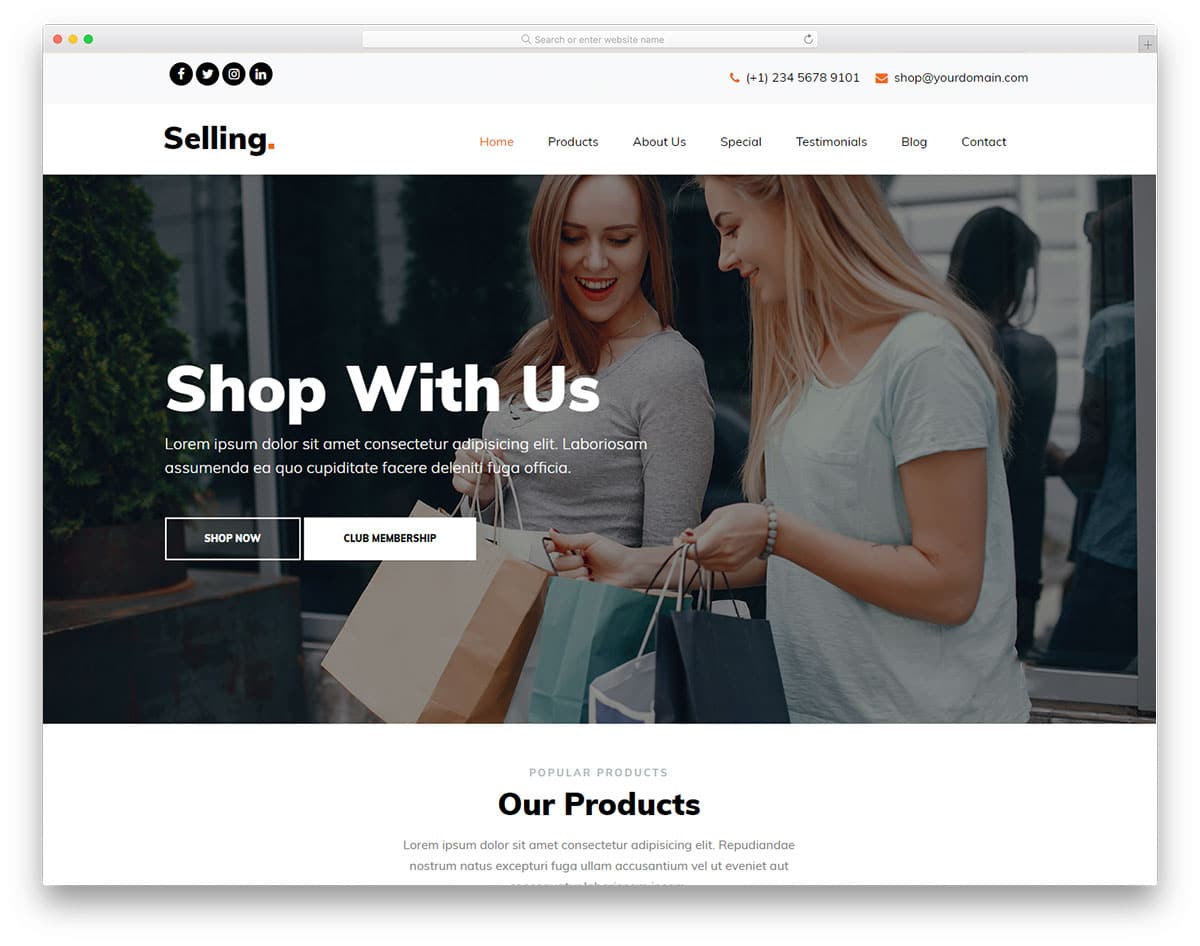 Selling - HTML5 eCommerce Website Template