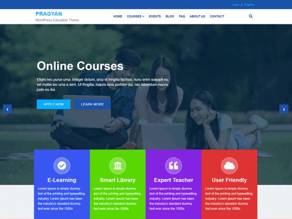 Pragyan - educational website WordPress theme