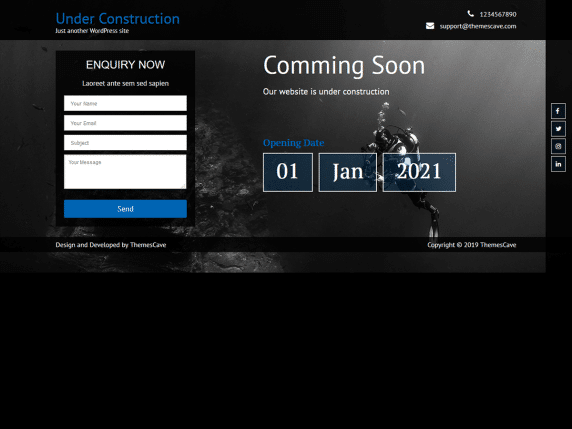 Under Construction Lite - coming soon landing page WordPress template