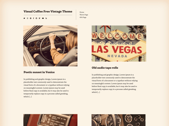 Visual Coffee - free vintage WordPress theme