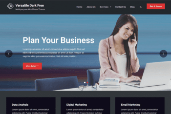Versatile Business Dark – A Multipurpose Business WordPress Theme for Free