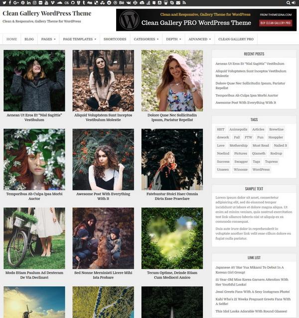Clean Gallery - gallery website WordPress theme
