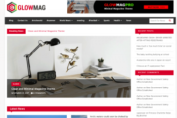 GlowMag – A Free Magazine WordPress Theme