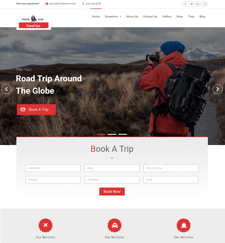 Travel Eye - travel website WordPress theme