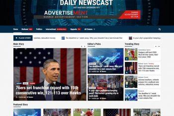 Daily Newscast – Magazine, Blog & News WordPress Theme for Free