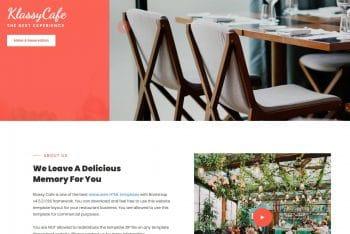 Klassy Cafe – Free Restaurant Website HTML Template