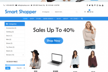 Smart Shopper – Ecommerce Website WordPress Theme for Free