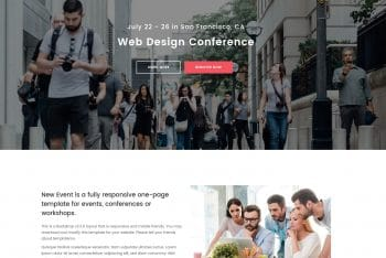 New Event – A Fully Responsive One-page HTML Template for Free