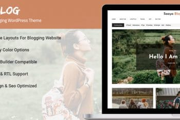 Saaya Blog – Minimal Blogging WordPress Theme for Free