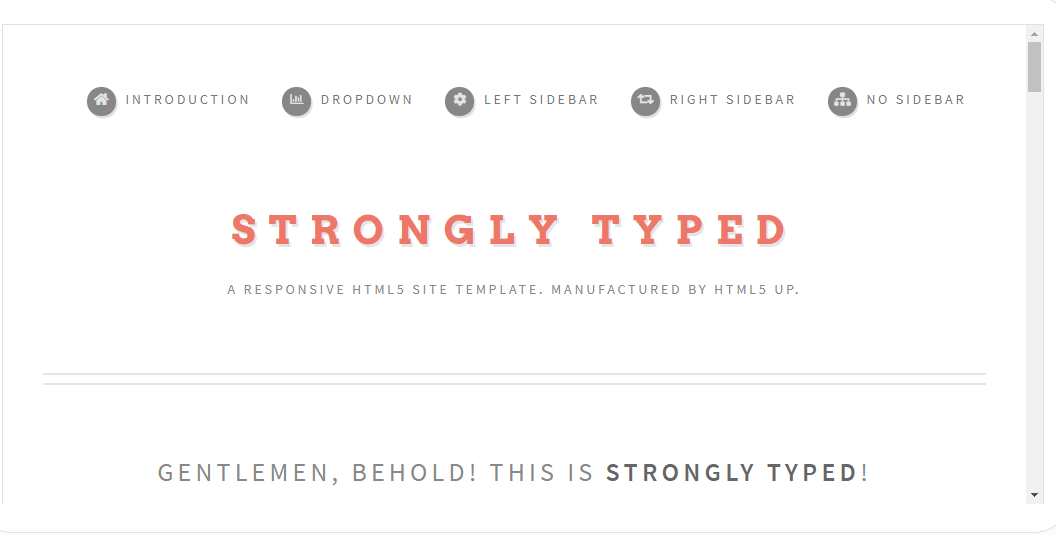 Strongly Typed - Clean HTML template