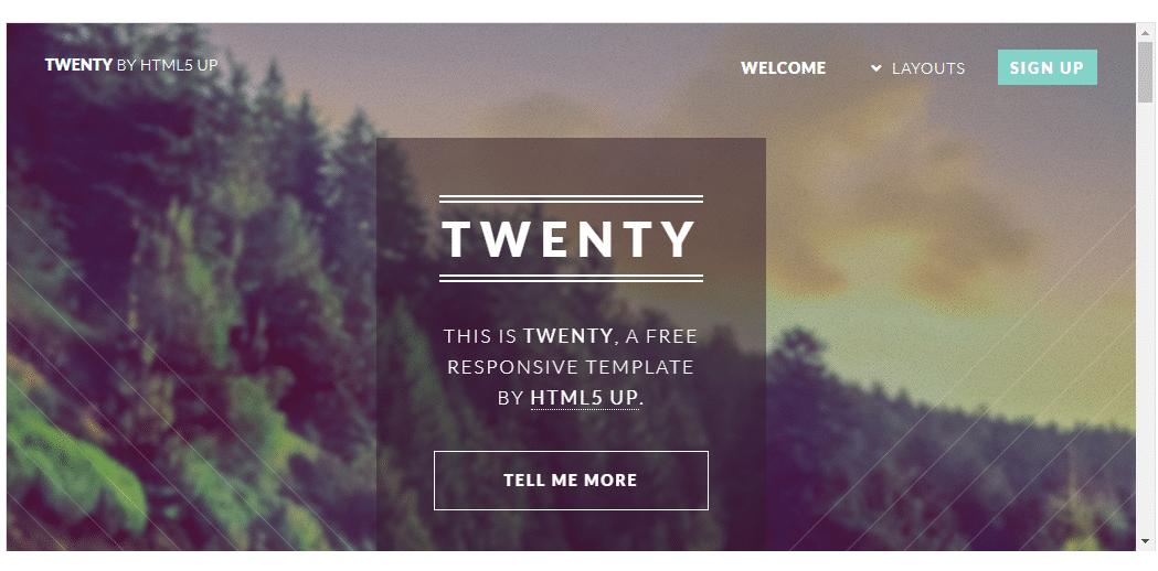 Twenty- Free HTML Template