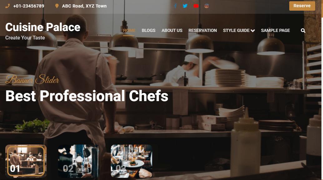 Cuisine Palace - Free WordPress Theme