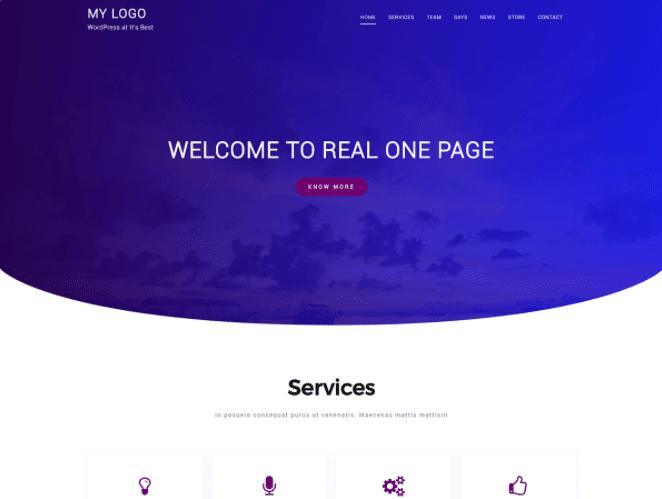 Real Onepage - free WordPress