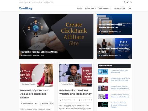 Xooblog - free WordPress theme